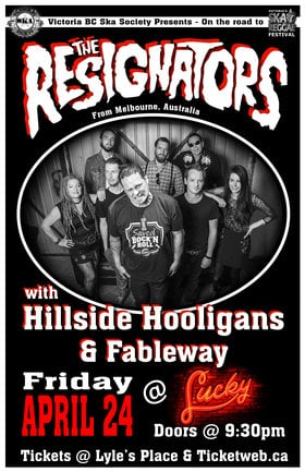 MELBOURNE, AUSTRALIA'S RESIGNATORS RETURN TO THE ISLAND!: The Resignators, Hillside Hooligans, Fableway @ Lucky Bar Apr 24 2015 - Jun 2nd @ Lucky Bar