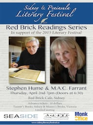 M.A.C. Farrant and Stephen Hume Read in Sidney: M.A.C. Farrant, Stephen Hume  @ Red Brick Cafe Apr 2 2015 - Jun 1st @ Red Brick Cafe