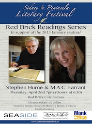 M.A.C. Farrant and Stephen Hume Read in Sidney: M.A.C. Farrant, Stephen Hume  @ Red Brick Cafe Apr 2 2015 - Feb 28th @ Red Brick Cafe