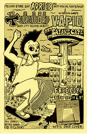 THE TUBULOIDS BEER CITY RECORDS DEBUT!: The Tubuloids, Vapid, Satan's Cape @ Antisocial Skateboard Shop Apr 18 2015 - Aug 17th @ Antisocial Skateboard Shop