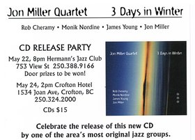 CD Release Party: Jon Miller Quartet @ Hermann's Jazz Club May 22 2015 - Apr 19th @ Hermann's Jazz Club