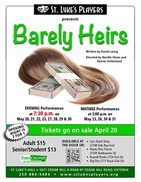 Barely Heirs: Natalie Munro, Nicola Locke, Kevin Barreca, Robert Leather, Brian Thidodeau, Janine Longy, Gary Johnson, Neville Owen, Sharon Sutherland @ St. Luke's Anglcian Church-Hall May 20 2015 - Jan 20th @ St. Luke's Anglcian Church-Hall
