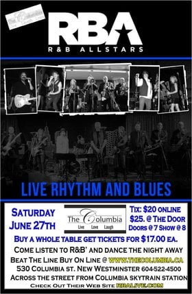 Live Rhythm and Blues: R&B All Stars @ The Columbia Theatre Jun 27 2015 - Apr 10th @ The Columbia Theatre