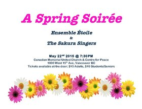 Spring Soiree: Ensemble Etoile Choir , Sakura Singers  @ Canadian Memorial United Church May 22 2015 - Oct 29th @ Canadian Memorial United Church