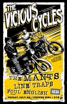 Vicious Cycles MC, The Mants, LINE TRAPS, The Foul English @ Copper Owl Jul 24 2015 - Mar 31st @ Copper Owl