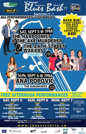 Vancouver Island Blues Bash: Free Performance Series: Ole Johnson Band, Paul Black Band, Jason Buie Band, The Midnights @ Ship Point (Inner Harbour) Sep 7 2015 - Oct 16th @ Ship Point (Inner Harbour)
