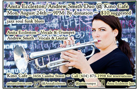 Monday Jazz: Anita Eccleston, Andrew Smith @ Kino Cafe Aug 24 2015 - Apr 6th @ Kino Cafe