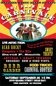 Art Fare and Carnivale: ACAB Rocky, Cleopatra + The Nile, David P. Smith, DJ Fiji Mermaid, The Great Giffoni Magic Show @ Vancouver Island School of Art Sep 26 2015 - Mar 29th @ Vancouver Island School of Art