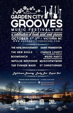 Garden City Grooves Night 2 - The New Groovement CD release: The New Groovement, Boomshack, Weird Party @ Lucky Bar Oct 2 2015 - Apr 7th @ Lucky Bar