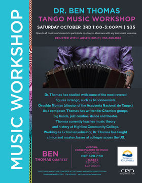 tango Music with Dr. Ben Thomas and Quartet: Ben Thmas Bandoneon, Eric Rynes Violin, Jeff Norwood Bass, Ben Verdier Piano @ Robin and Winifred Wood Recital Hall Oct 3 2015 - Apr 4th @ Robin and Winifred Wood Recital Hall