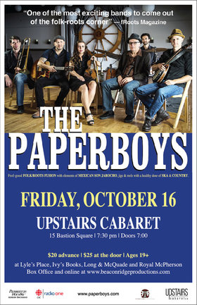 The Paperboys @ The Upstairs Cabaret Oct 16 2015 - Nov 30th @ The Upstairs Cabaret