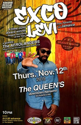 "4-time Juno Award winner for ""Reggae Recording of the Year"": EXCO LEVI , Afrolanders @ The Queens Nov 12 2015 - Apr 1st @ The Queens"