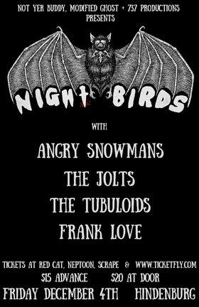 NIght Birds (NJ), Angry Snowmans, The Jolts, The Tubuloids, Frank Love @ The Hindenburg Dec 4 2015 - Oct 17th @ The Hindenburg