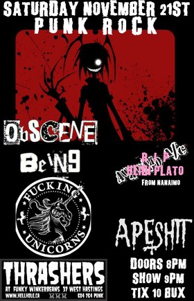 Obscene Being, Fucking Unicorns, Apeshit @ Funky Winker Beans Nov 21 2015 - Mar 31st @ Funky Winker Beans