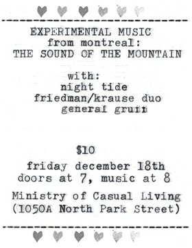 Craig Pedersen's Cut & Gouge solo trumpet tour: Sound of the Mountain, Night Tide, Friedman / Krause duo, General Gruff - Oct 26th @ The Ministry of Casual Living