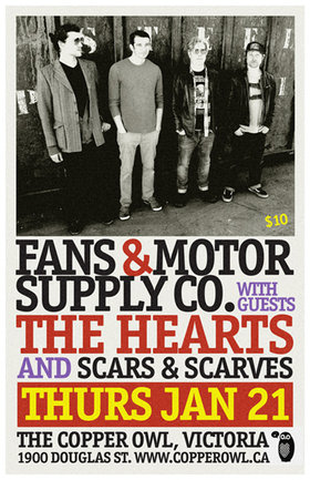 Fans & Motor Supply Co, The Hearts, Scars and Scarves @ Copper Owl Jan 21 2016 - Apr 7th @ Copper Owl
