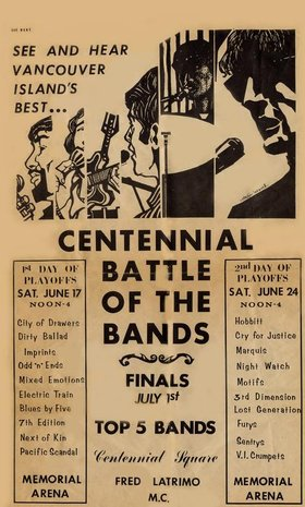 Centennial Battle of the Bands Finals: The Antics, The Imprints, The Marquis, Blues X Five, Motifs, The Foundry Brass @ Victoria's Spirit Square (in Centennial Square) Jul 1 1967 - May 5th @ Victoria's Spirit Square (in Centennial Square)