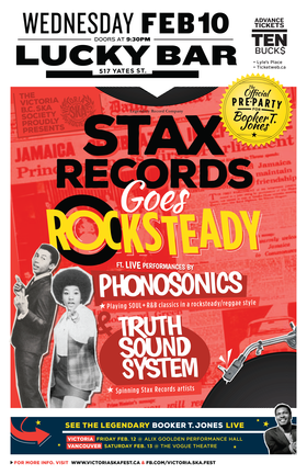 STAX RECORDS GOES ROCKSTEADY featuring THE PHONOSONICS & THE TRUTH SOUNDSYSTEM - Booker T. Jones Pre-Party!: Phonosonics, The Truth Sound System @ Lucky Bar Feb 10 2016 - Sep 26th @ Lucky Bar