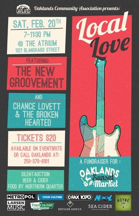 Local Love: Oaklands Sunset Market Fundraiser!: The New Groovement, Chance Lovett and the Broken Hearted @ The Atrium Feb 20 2016 - Jan 25th @ The Atrium