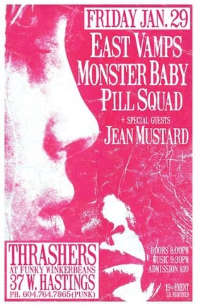 Gerry-Jenn is back ~ the Return of EAST VAMPS!!: Stab Em in the Abdomen, East Vamps, Pill Squad, JEAN MUSTARD @ Funky Winker Beans Jan 29 2016 - May 31st @ Funky Winker Beans