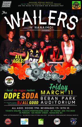 THE WAILERS IN NANAIMO - REGGAE ON THE ISLAND (All Ages): The Wailers, Dope Soda, DJ All Good @ Beban Park Auditorium Mar 11 2016 - Sep 26th @ Beban Park Auditorium
