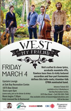 West My Friend @ Upstairs Lounge - Oak Bay Recreation Centre Mar 4 2016 - Aug 7th @ Upstairs Lounge - Oak Bay Recreation Centre