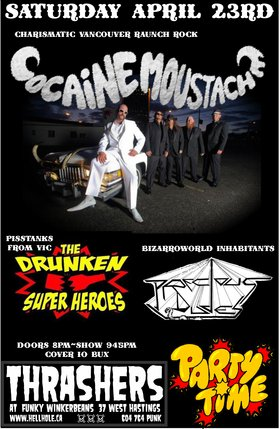 THE STACHE: Cocaine Moustache, Drunken Super Heroes, Precious Dudes @ Funky Winker Beans Apr 23 2016 - Jan 25th @ Funky Winker Beans