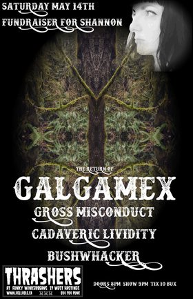 FUNDRAISER FOR SHANNON ~~: Galgamex, Gross Misconduct, Cadaveric Lividity , Bushwhacker @ Funky Winker Beans May 14 2016 - Jun 27th @ Funky Winker Beans