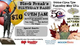 kick off the 2016 Marine Festival Music Series, celebrate Black Franks Birthday: Bathtub Boogie Band, Whitey Somers, Jona Kristinsson, Tin Foil Toque, Glen Foster , Brad Ney , Andrea Smith, Deb and Ken Ermter @ The Queens May 12 2016 - Apr 1st @ The Queens