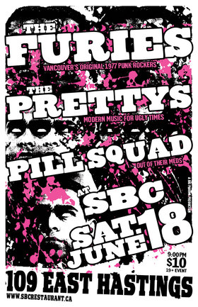 the Furies, The Pretty's, Pill Squad @ SBC Restaurant Jun 18 2016 - May 31st @ SBC Restaurant