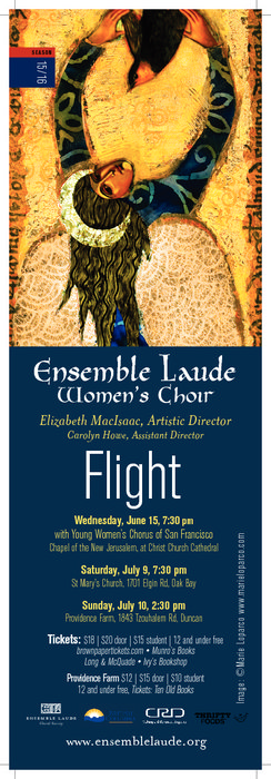 Flight!: Ensemble Laude @ St. Mary's Anglican Church Jul 9 2016 - Jun 6th @ St. Mary's Anglican Church