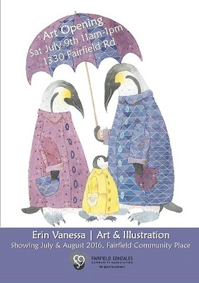 Erin Vanessa Art Exhibit: Erin Vanessa  (Art + Illustration) @ Fairfield Hall Jul 9 2016 - May 13th @ Fairfield Hall