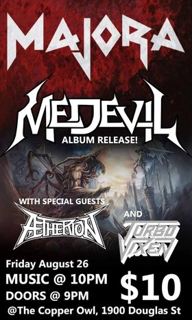 MAJORA, Medevil, Aetherion, Turbo Vixen @ Copper Owl Aug 26 2016 - Dec 8th @ Copper Owl