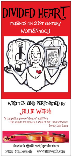 Divided Heart: a solo show: Allie Weigh Musician/Performer @ Robin and Winifred Wood Recital Hall Aug 25 2016 - Apr 4th @ Robin and Winifred Wood Recital Hall
