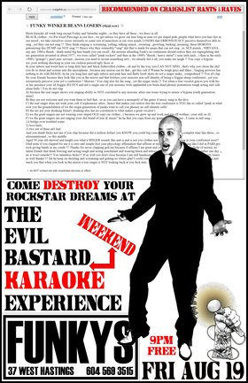 THE EVIL BASTARD KARAOKE EXPERIENCE PRESENTS A FRIDAY NIGHT KARAOKE SESSION~~: The Evil Bastard KARAOKE Experience @ Funky Winker Beans Aug 19 2016 - Sep 17th @ Funky Winker Beans