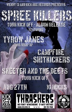 MULTI GENRE TOUR KICKOFF~: Spree Killers , Tyrow James, Skeeter And The Deets, CAMPFIRE SHITKICKERS @ Funky Winker Beans Aug 27 2016 - Sep 17th @ Funky Winker Beans
