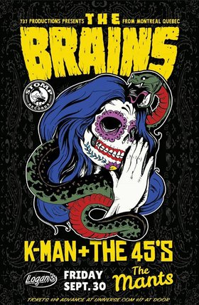 The Brains, Kman and the 45s, The Mants @ Logan's Pub Sep 30 2016 - Mar 31st @ Logan's Pub