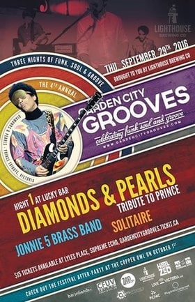 Garden City Grooves Festival - Prince Tribute (Opening Night): Diamonds and Pearls , Solitaire, Jonnie 5 Brass Band, Rafferty Funksmith @ Lucky Bar Sep 29 2016 - Feb 25th @ Lucky Bar