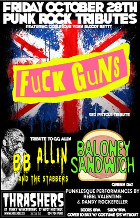 BLOODY BETTY'S HALLOWEENESQUE TRIBUTE EXTRAVAGANZA~~: BB Allin and The Stabbers, FUCK GUNS, BALONEY SANDWICH @ Funky Winker Beans Oct 28 2016 - Sep 17th @ Funky Winker Beans