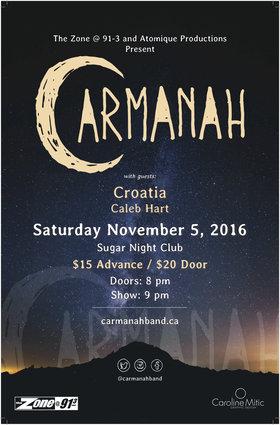 Carmanah, CROATIA, Caleb Hart @ Capital Ballroom Nov 5 2016 - Oct 17th @ Capital Ballroom