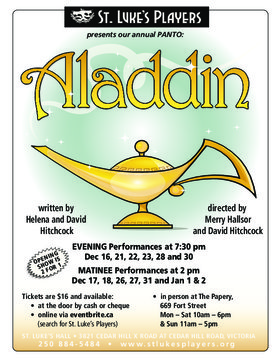 ALaddin A Christmas Panto @ St. Luke's Players Dec 16 2016 - Apr 6th @ St. Luke's Players