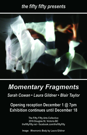 Momentary Fragments: Laura Gildner, Blair Taylor , Sarah Cowan @ the fifty fifty arts collective Dec 1 2016 - Jun 25th @ the fifty fifty arts collective
