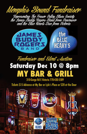 Memphis Blues Fundraiser: The Blue Hearts, Mark Ray Comerford Hank Leonhardt, James Buddy Rogers Band @ My Bar Howard Johnson Gorge Rd. Dec 10 2016 - Jan 22nd @ My Bar Howard Johnson Gorge Rd.