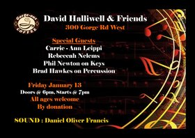 David Halliwell & Friends: David Halliwell, Carrie-Anne Leippi, Rebeccah Nelems, Brad Hawkes, Phil Newton, Daniel Oliver Francis @ Gorge-ous Coffee Jan 13 2017 - Feb 16th @ Gorge-ous Coffee