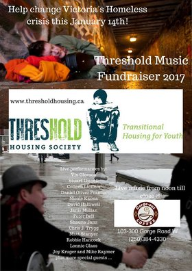Threshold Fundraiser: Robbie Hancock, Lonnie Glass, Daniel Oliver Francis, Viv Gleason, Shauna Janz, Joy Kruger, Nicole Kaona, David Halliwell, Colleen Leiffers, Stuart Linnell, Peter Bell, Janis Mullan, Chris J. Trigg, Mike Raymer, Matt Stanyer @ Gorge-ous Coffee Jan 14 2017 - Jun 2nd @ Gorge-ous Coffee