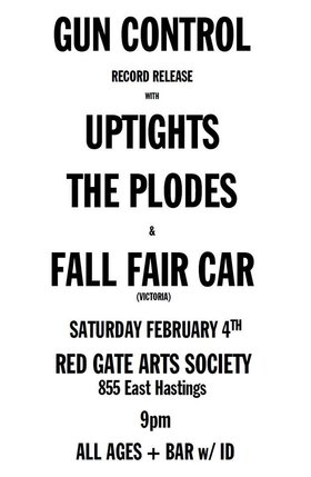Volume 1 Release Show: Gun Control, The Plodes, Fall Fair Car, Uptights @ The Red Gate Feb 4 2017 - Dec 3rd @ The Red Gate