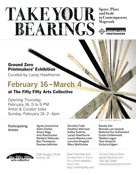 "Take Your Bearings"" Ground Zero Printmakers Exhibition: Agnes Ananichuk, Alain Costaz, Alison Bigg, Avis Rasmussen, Barbara Tolloczko, Bev Thompson, Desiree deRuiter, Dorothy Field, Heather Atkinson, Kathy Guthrie, Lacey Hawthorne , Laurie Mackie Loen, Lorraine Douglas , Mary Mottishaw, Randie Feil, Rhonda Lee Usipiuk, Roberta Pyx Sutherland , Susan Underwood, Tabitha Logan, Tara Howarth, Victoria Edgarr @ the fifty fifty arts collective Feb 16 2017 - Jun 25th @ the fifty fifty arts collective"