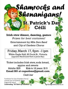 St. Patrick's Day Céilí ~ SHAMROCKS and SHENANIGANS!: Mile Zero Band, City of Gardens Chorus, surprise guest @ White Eagle Polish Hall Mar 17 2017 - Mar 29th @ White Eagle Polish Hall