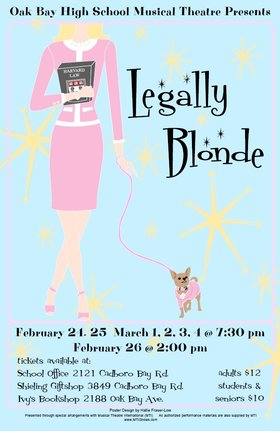 Oak Bay High School Musical Theatre Presents Legally Blonde @ Dave Dunnet Community Theatre (Oak Bay High School) Feb 24 2017 - Feb 26th @ Dave Dunnet Community Theatre (Oak Bay High School)
