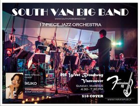 Big Band Jazz ft: South Van Big Band, Ikuko @ Fairview Pub Mar 5 2017 - Nov 17th @ Fairview Pub